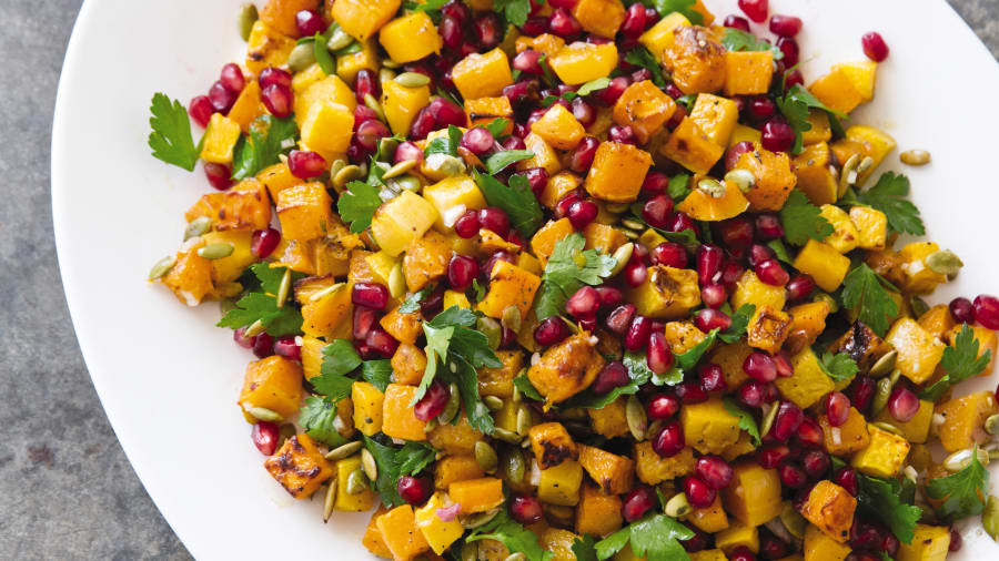 Levantine flavors: roasted butternut squash with za'atar.