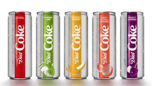 Coca-Cola introduced a slimmer 12-ounce Diet Coke can and four new flavors, including mango and ginger lime. The company said Diet Coke's new look and flavors were aimed to appeal to millennials.