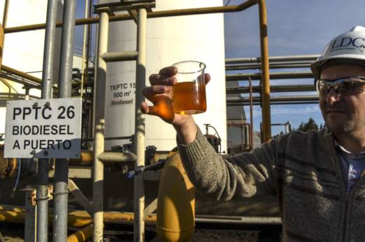 An engineer shows a sample of biodiesel at an industrial complex in General Lagos, Santa Fe province, Argentina. The United States recently imposed duties on Argentine biodiesel, blocking it from the U.S. market.