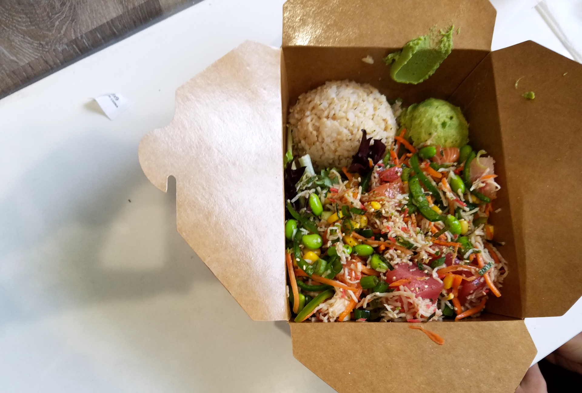 A make-your-own bowl at Our Poke Place.