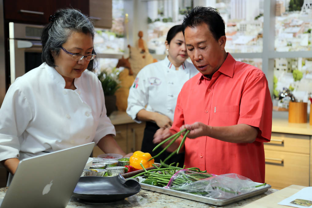 Martin Yan on set taping his new series in Emeryville.
