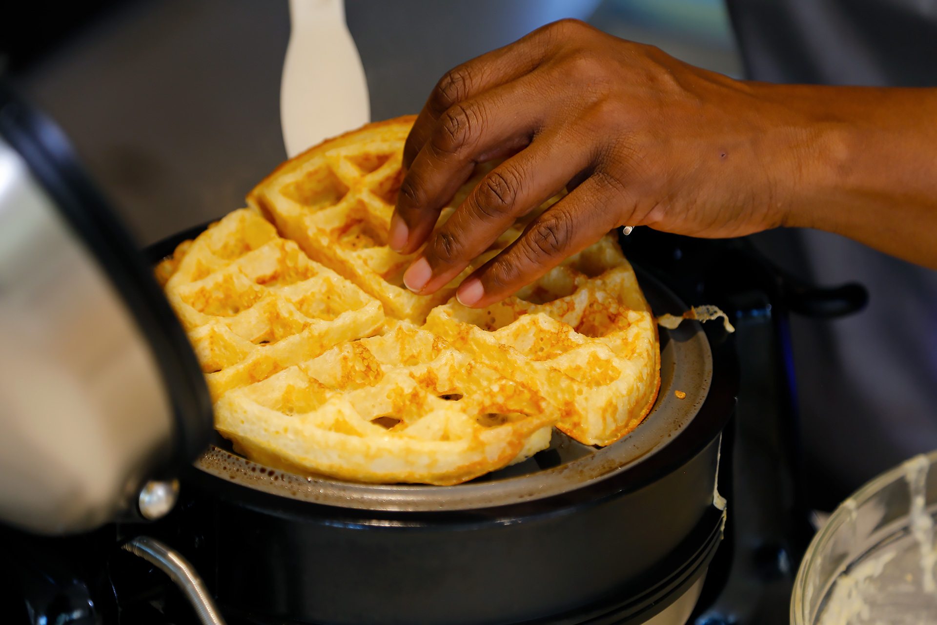 Cook waffles, following manufacturer's instructions, until golden and cooked through, about 3 minutes.