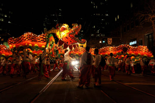 The Golden Dragon brings up the rear of the 2014 Chinese New Year Parade.