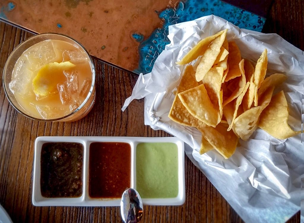 Tamarind cocktail, chips and salsa trio at Cascabel Mexican restaurant and grill in Santa Rosa.
