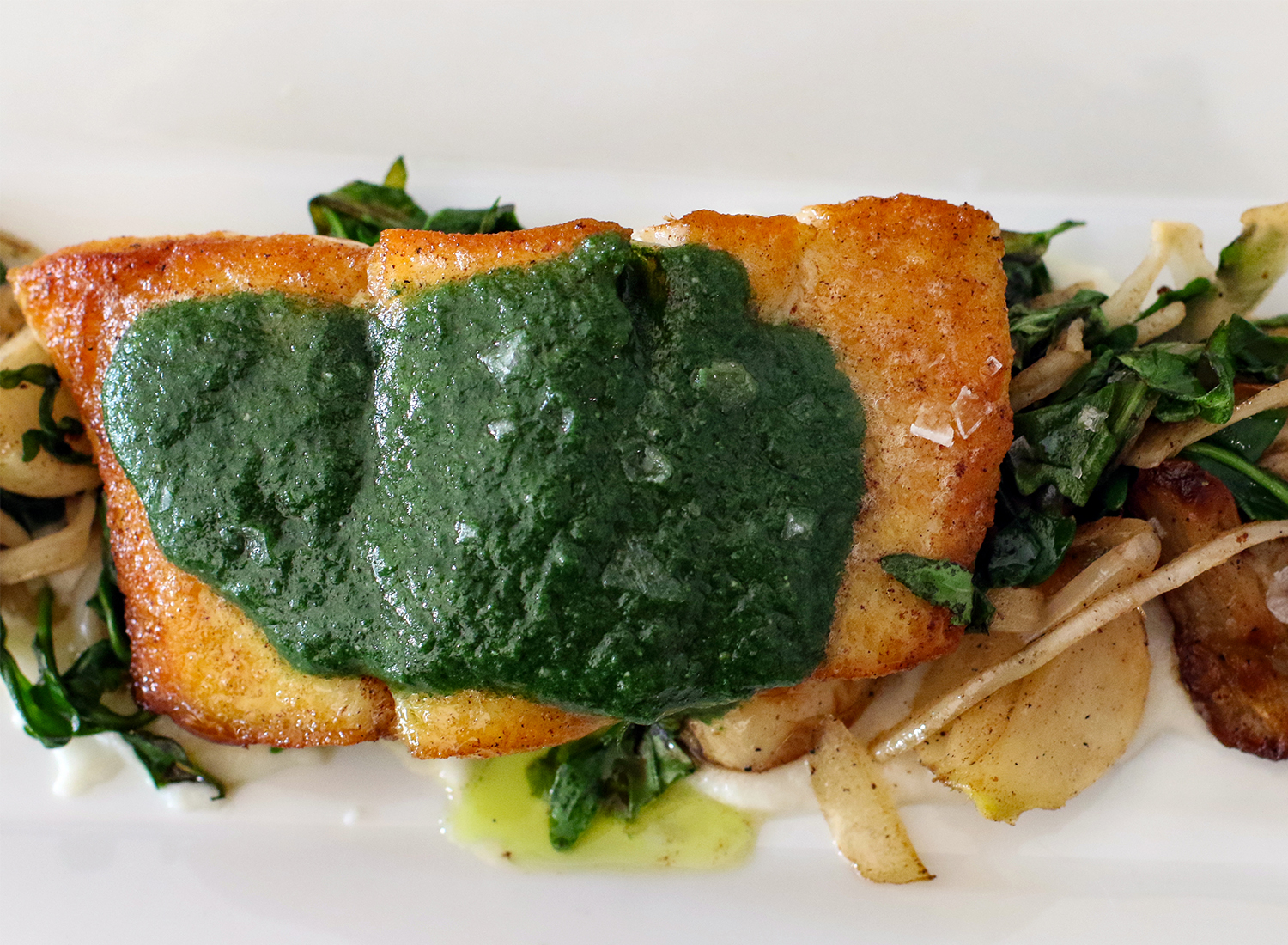 Seared halibut.
