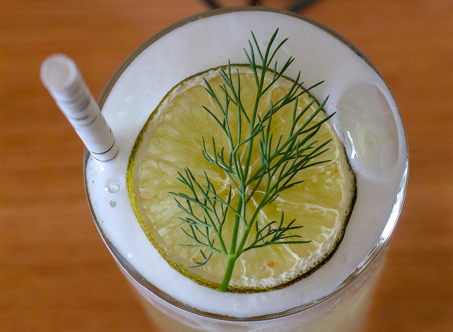 Farralon Fizz with gin, aloe liqueur, cucumber shrub, lime, limoncello, dill foam at Perch + Plow restaurant in Santa Rosa.