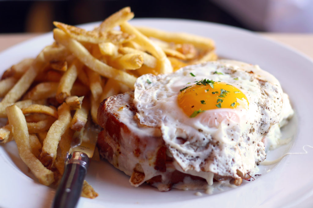 Croque Madame with frites at Bistro 29 in Santa Rosa.