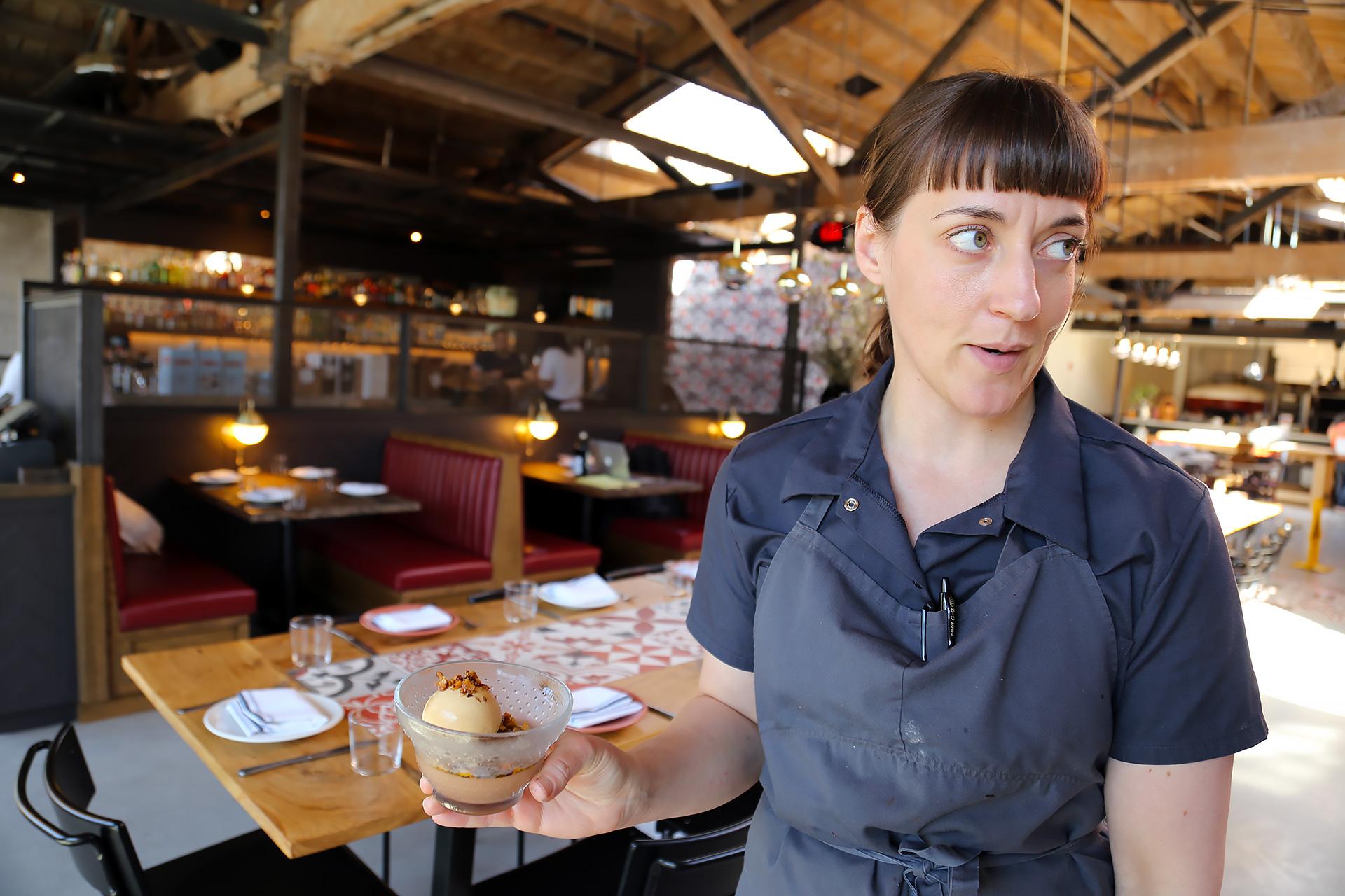 Pastry chef Angela Pinkerton delivers the amazing bittersweet chocolate budino.