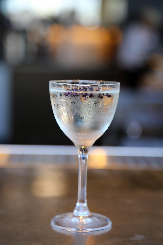 "Cocktail: Chile vodka-forward ""Basil"" mellowed with eau de vie and Dimmi."