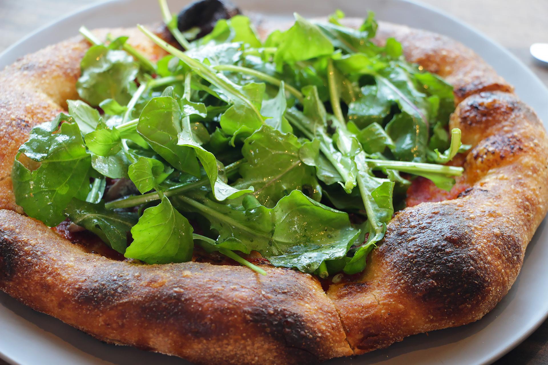 Pizze: Marinara, Anchovy, Knoll Farms Arugula.