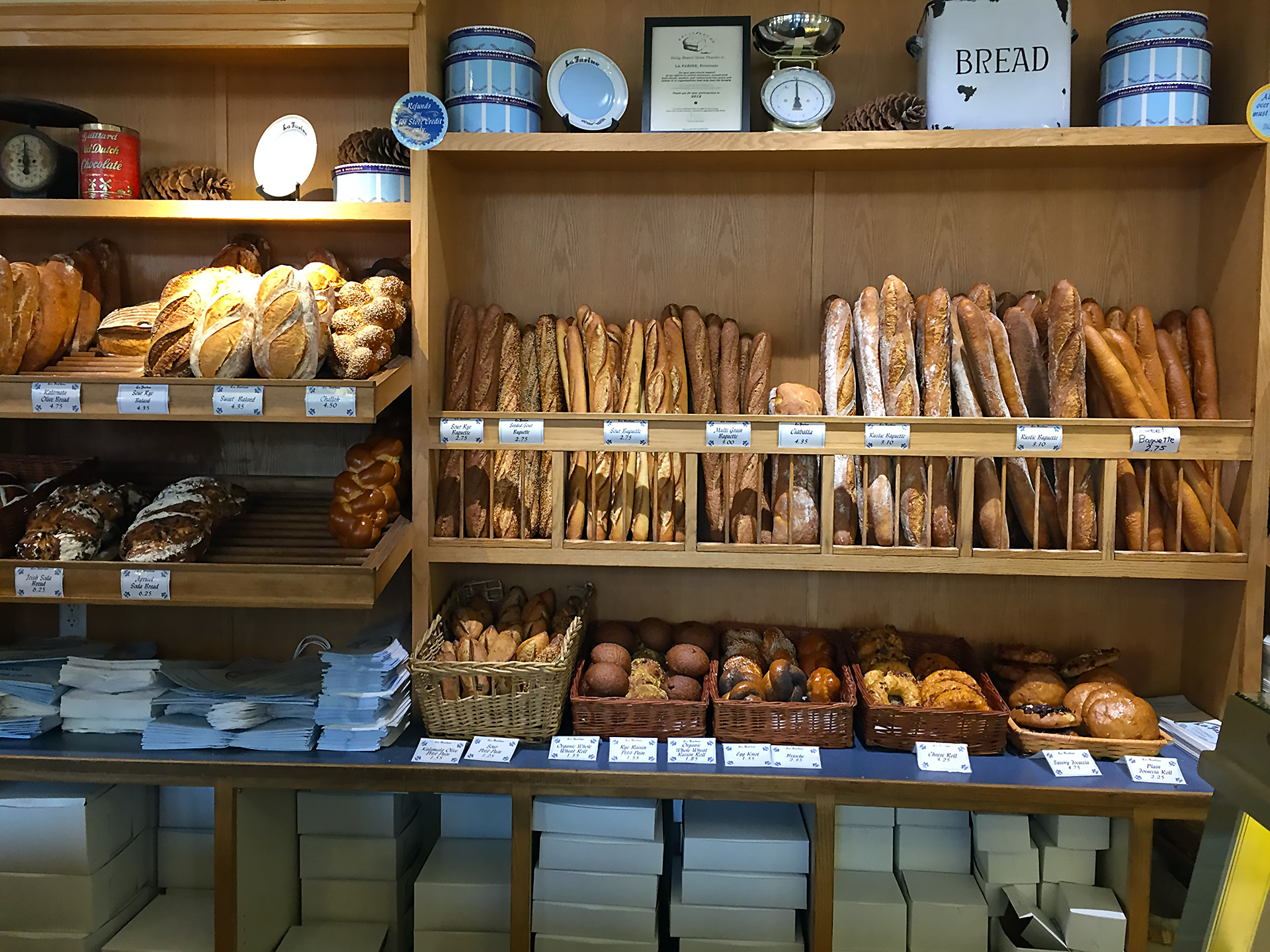 The bread display inside La Farine Bakery in Oakland