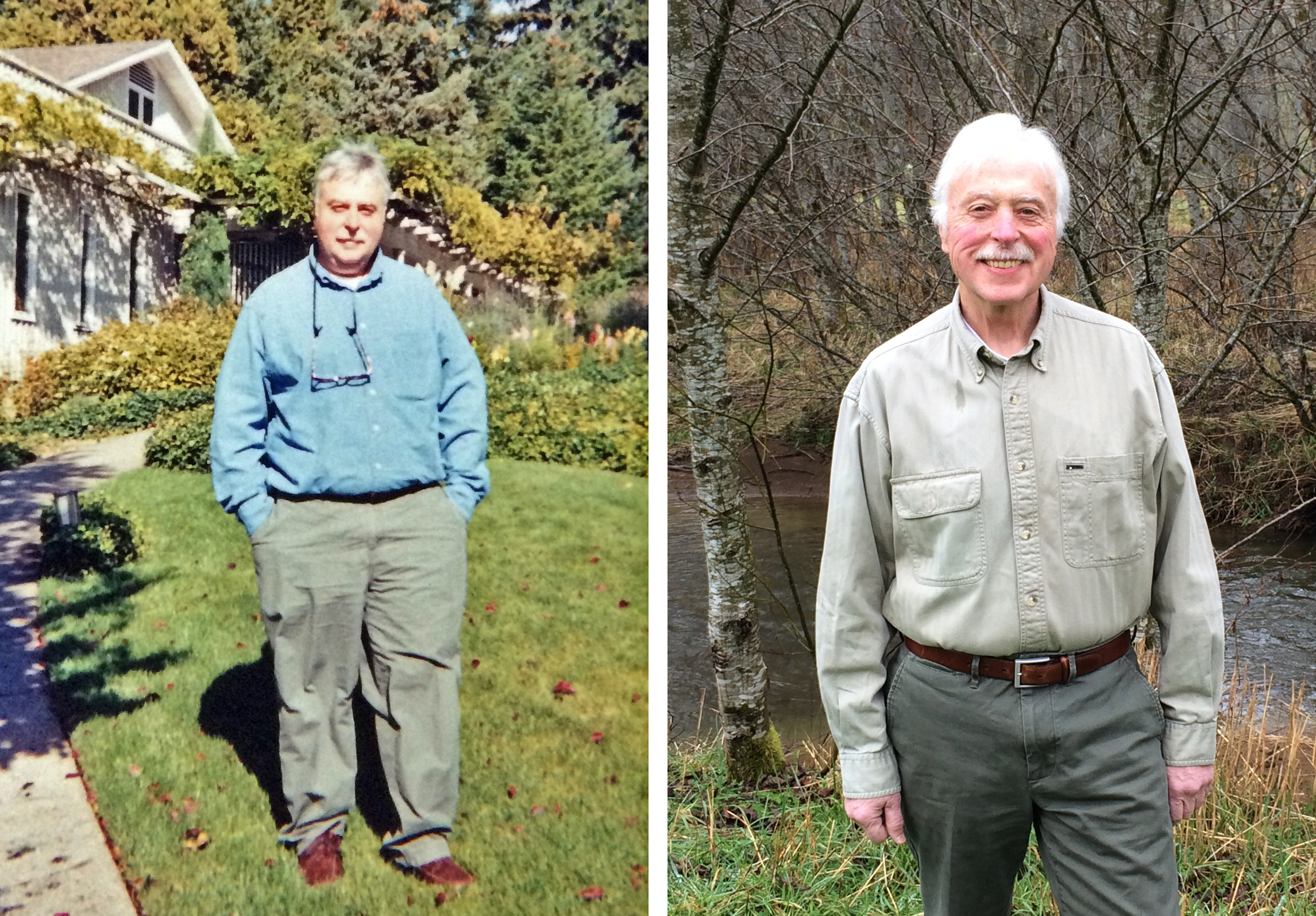 Don Speranza (left) in 2003, and after losing weight, in 2018.