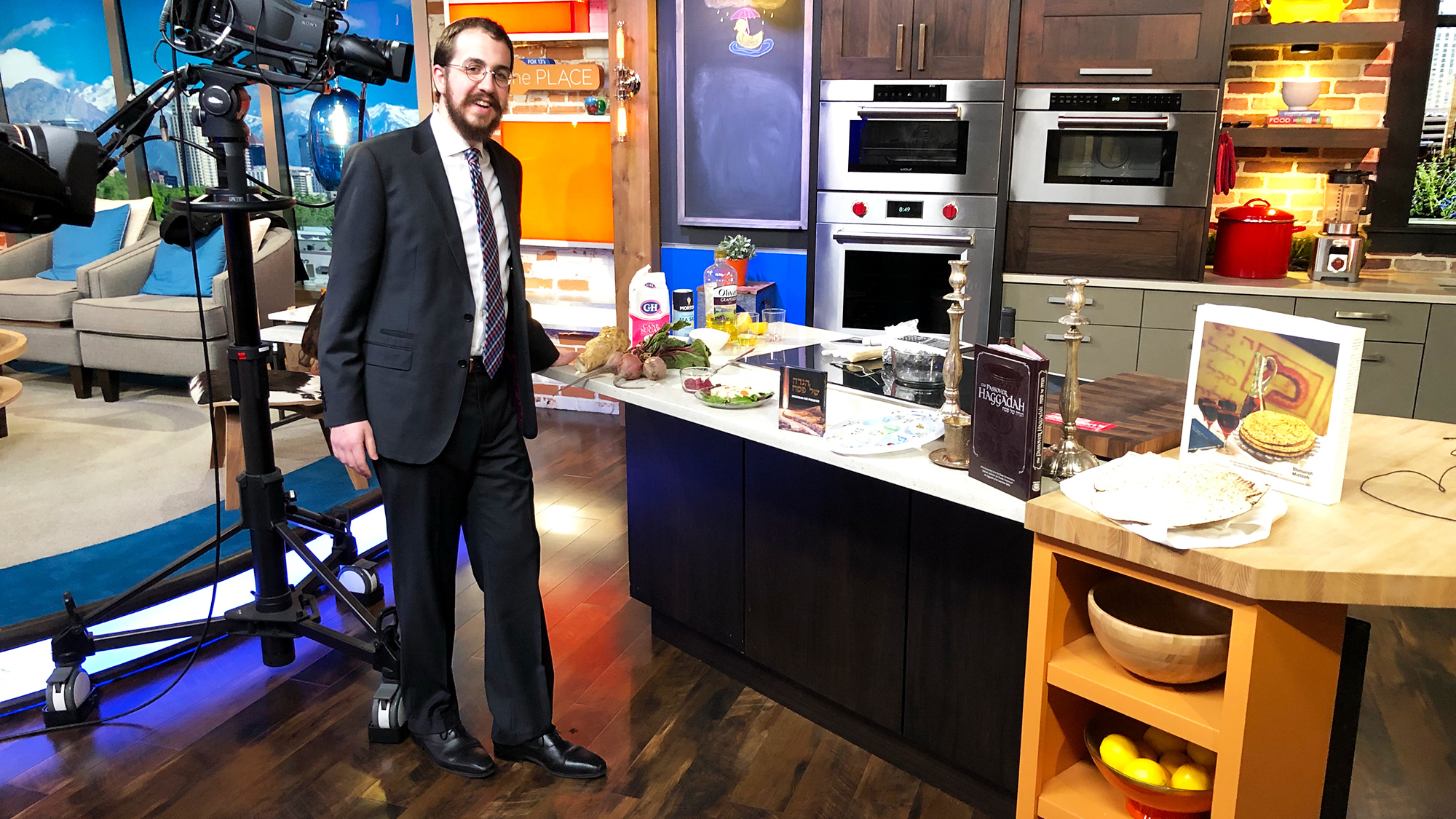 Rabbi Avremi Zippel, the program director at Chabad Lubavitch of Utah, during an appearance on Fox 13 to talk about Passover food.