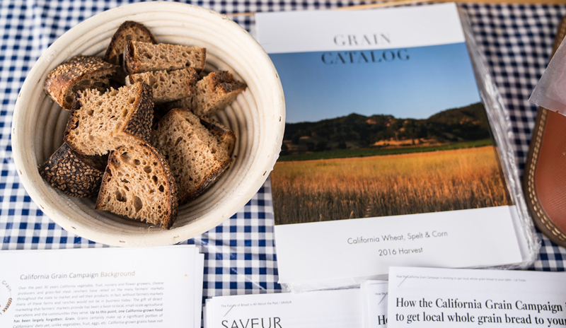 The California Grain Campaign catalogue with Mai Nguyen's grains in bread.