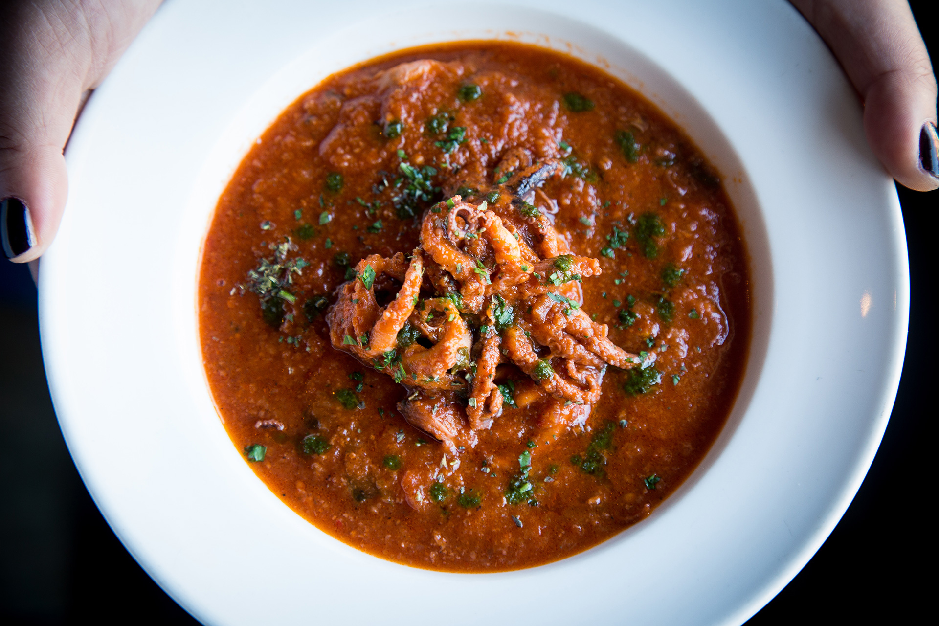 Prupisceddu in Umidu cun Tomatiga (Baby Octopus stew in a spicy Tomato Sauce)