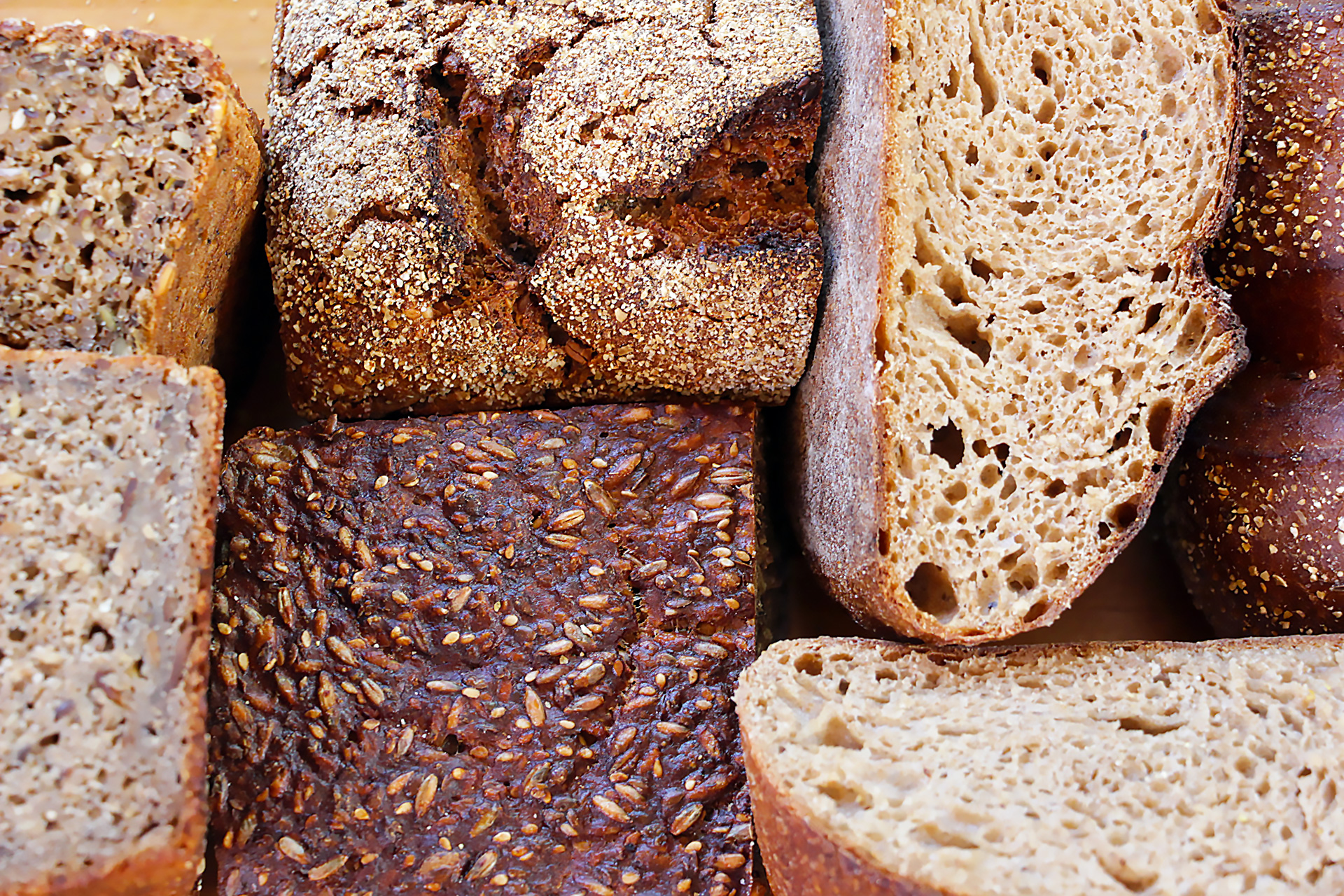 The interiors exposed of rye breads from San Francisco bakeries.