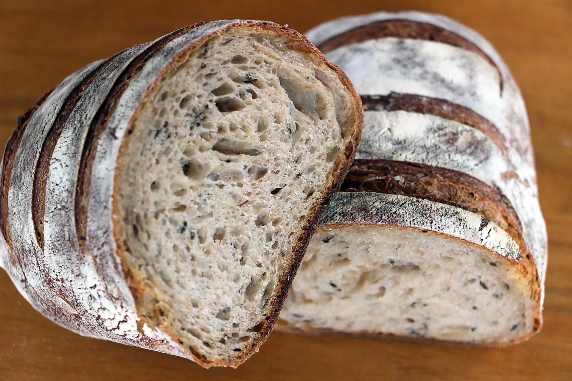 Noe Valley Bakery rye bread interior.