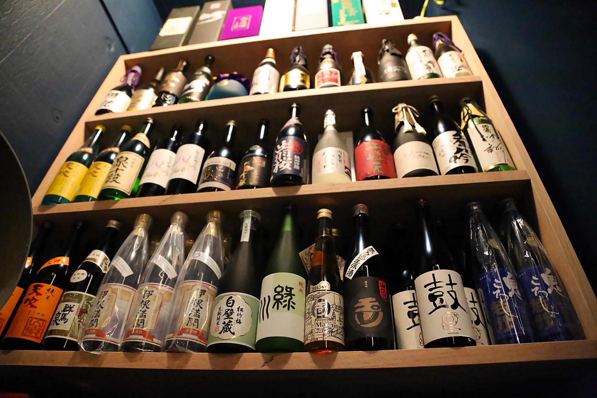Sake in wine cellar at Avery