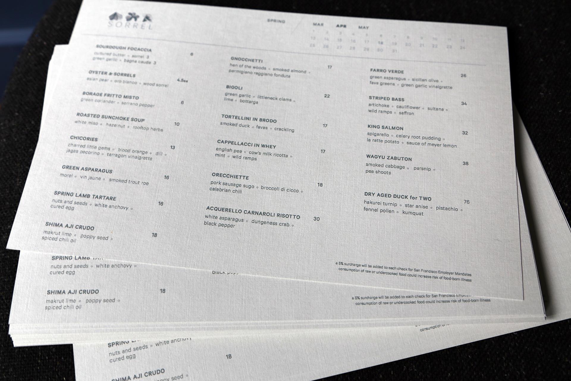 Sorrel menu