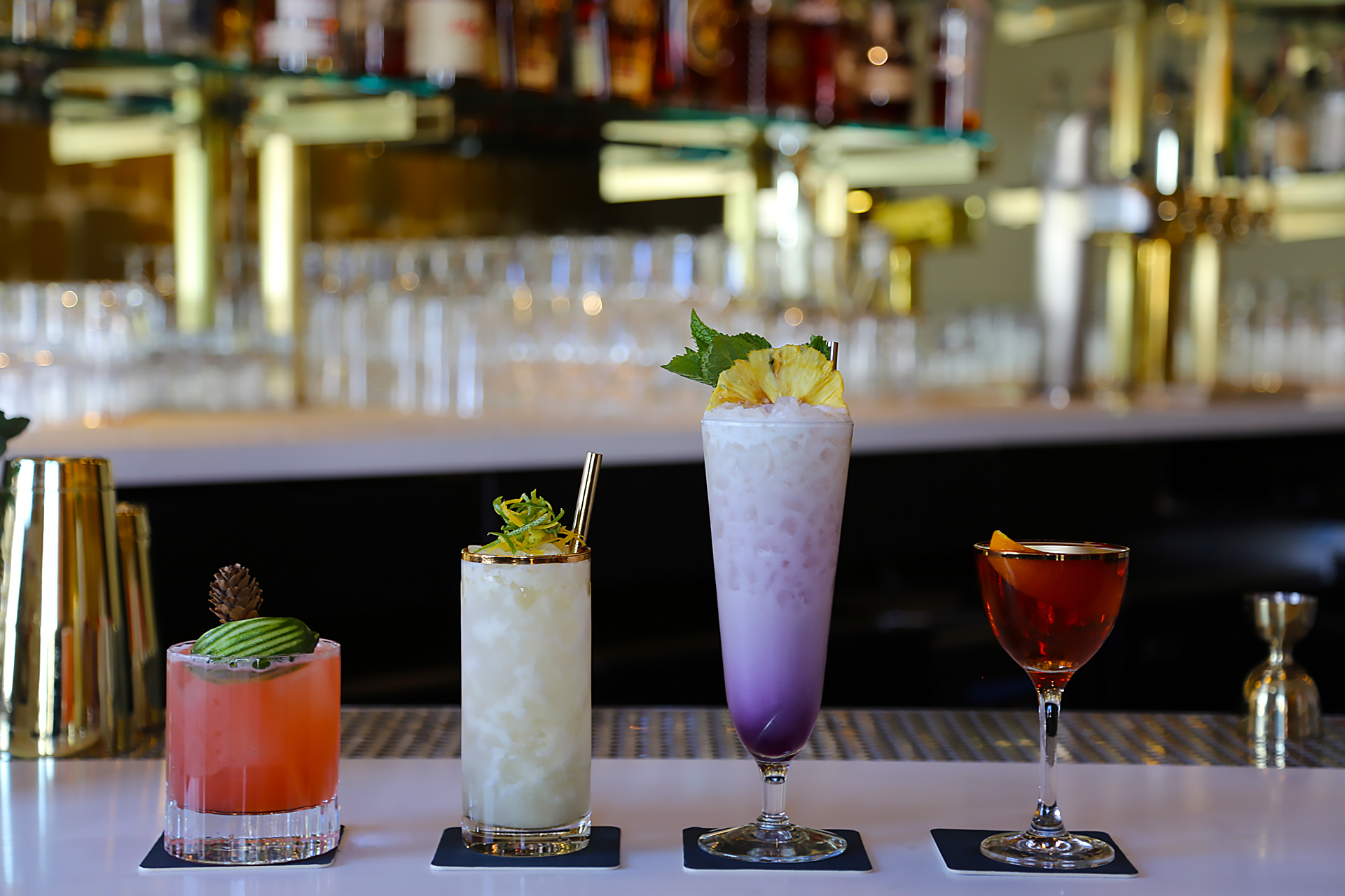 The Beehive cocktails (L to R): Thunderbird, Ipanema Gold, Bikini Drifter, Rising Sun