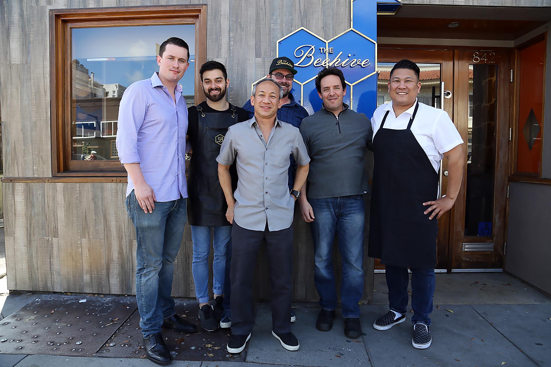 Most of The Beehive Crew (L to R): general manager Tristen Philippart de Foy, lead bartender Emilio Salehi, partner/chef Arnold Eric Wong,  partner/designer Steve Werney, partner/chef Phil West, chef Byron Gee