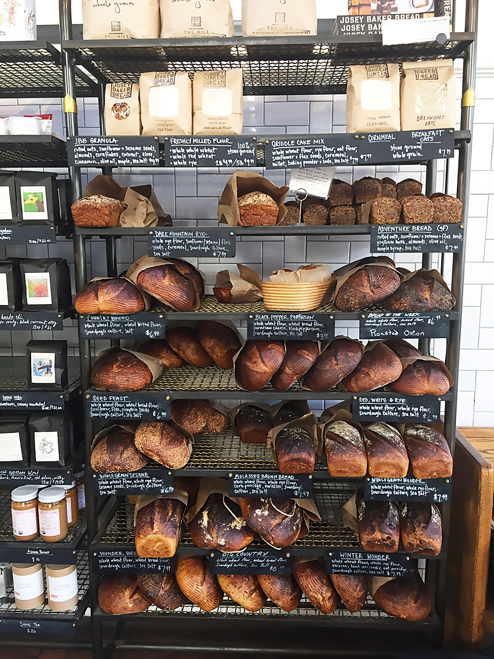 Josey Baker bread for sale at The Mill.