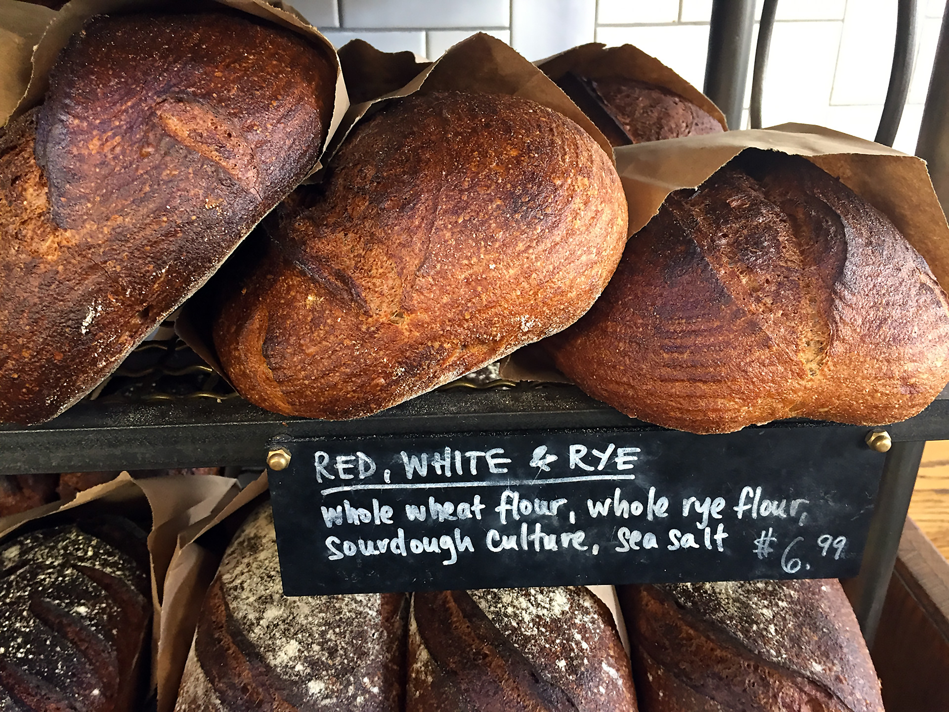 Josey Baker Red, White & Rye bread for sale at The Mill.