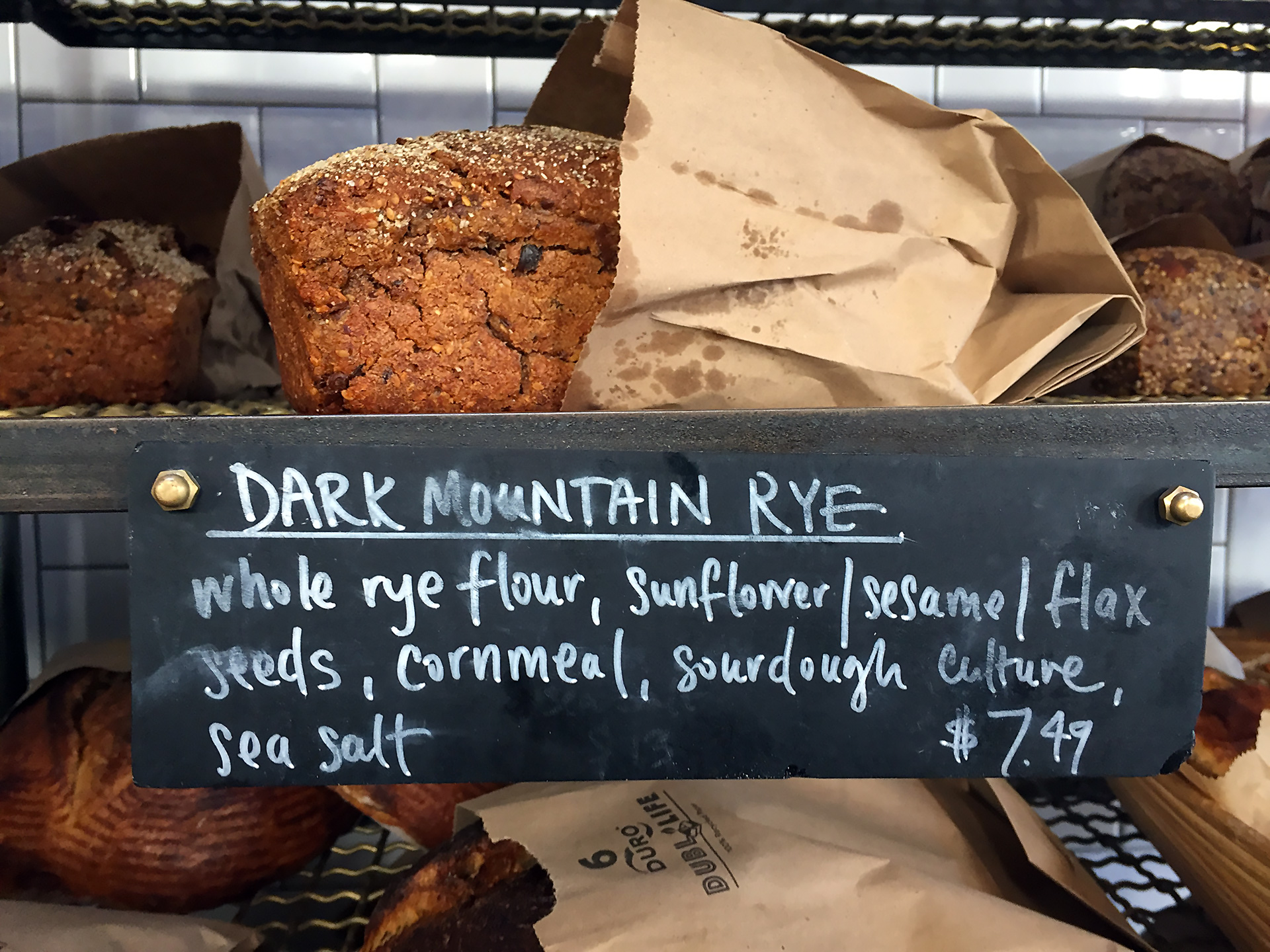Josey Baker Dark Mountain Rye bread for sale at The Mill.