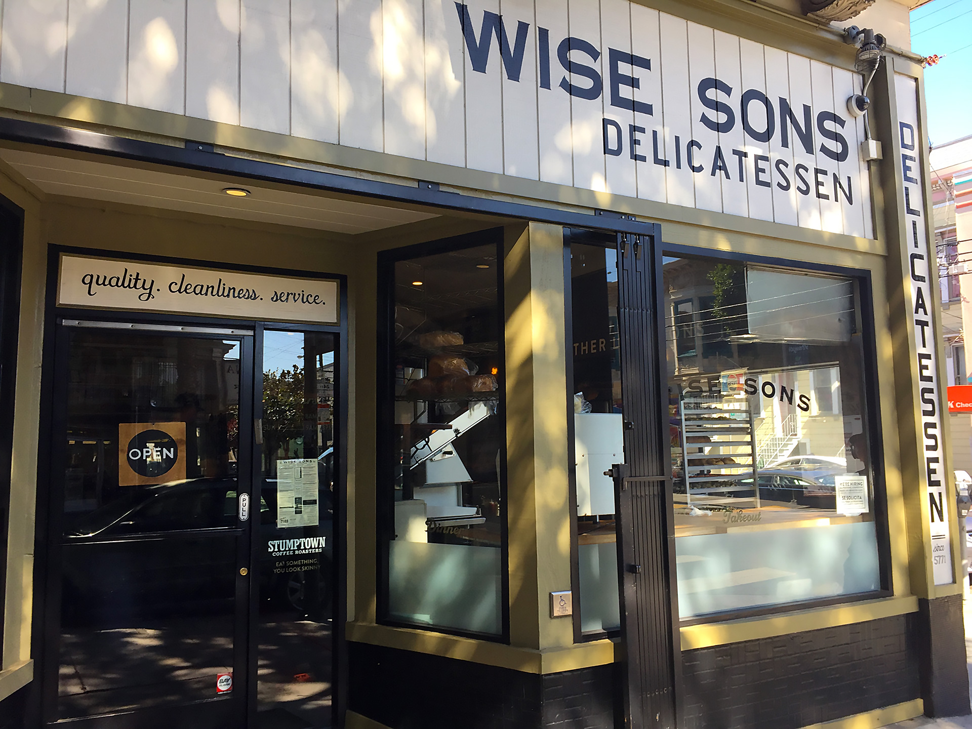 Outside WIse Sons Deli on 24th Street.