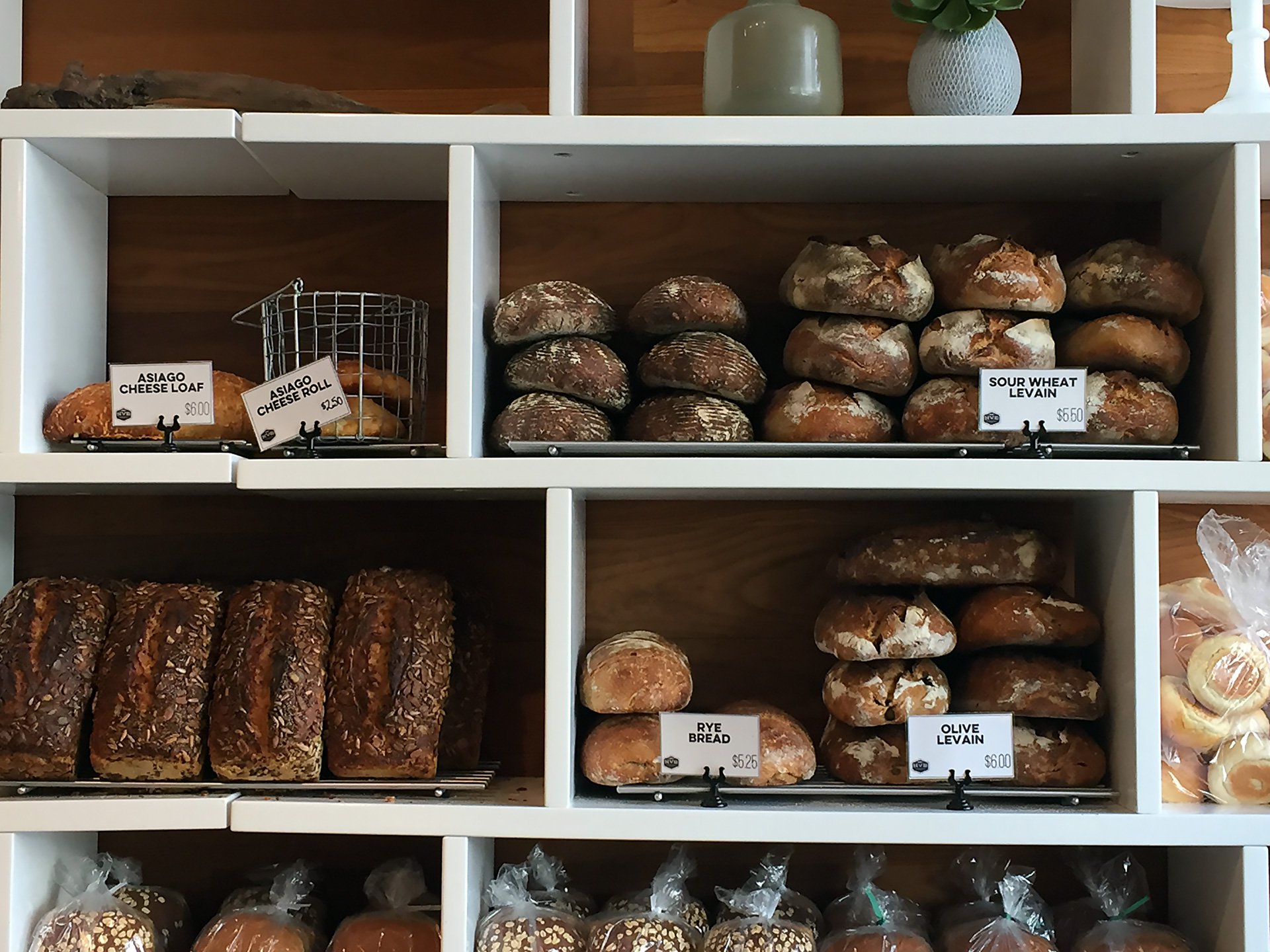 Noe Valley Bakery bread display on 24th Street.