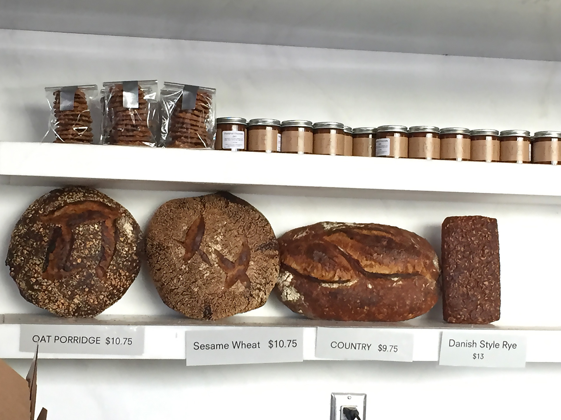 Tartine's Danish Style Rye on display along with other breads at the Manufactory.