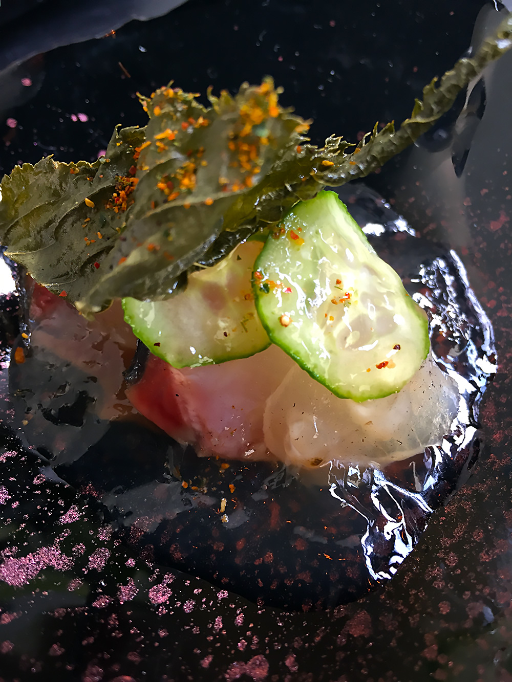 Paired with 'raw,' some delicate sashimi