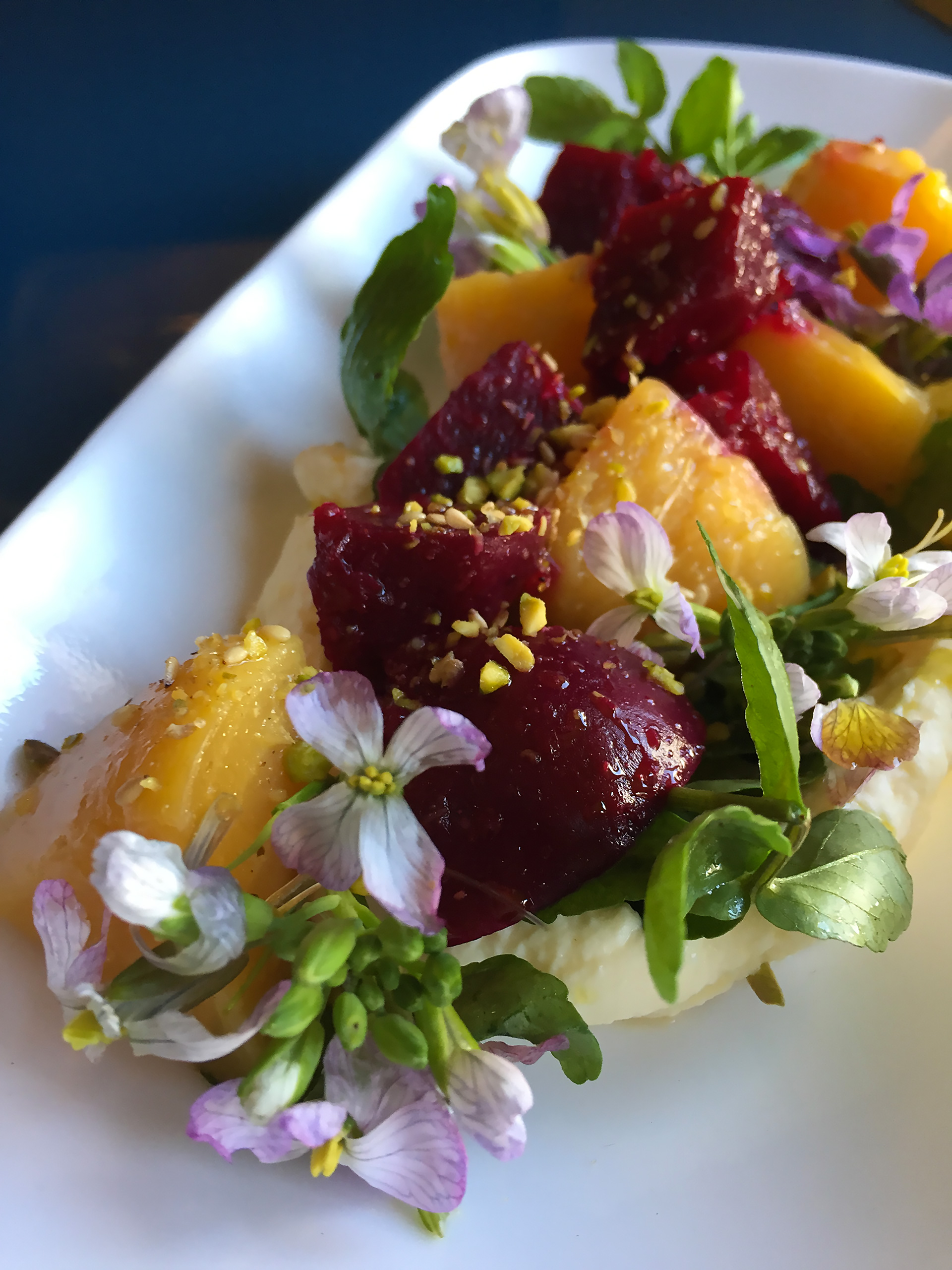 Roasted Beets with Pistachio Dukkha and Bellwether Farms Ricotta