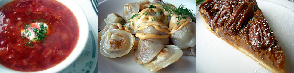 A sampler of Katia's classics: borscht, pelmeni, and her housemade pie.