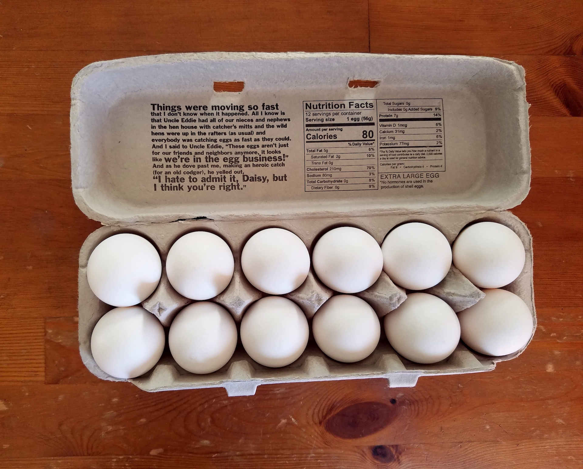 A carton of Uncle Eddie's eggs.