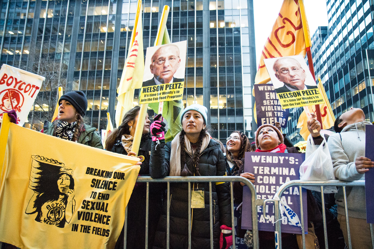 The 2,000-person Time's Up Wendy's March outside the Manhattan office of Nelson Peltz, Wendy's board chair