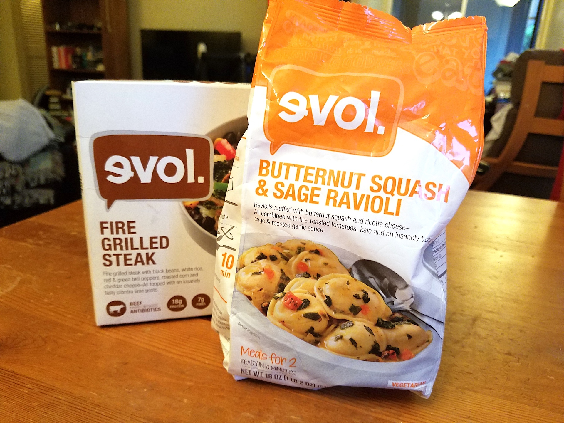 Evol's ravioli and steak bowl.