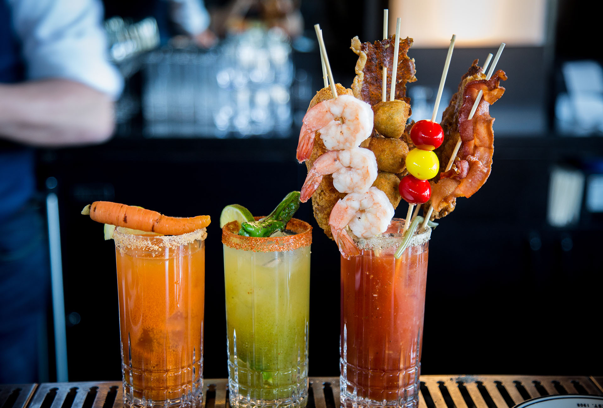 All three variations of the Bloody Mary, with a Hail Mary in the works.