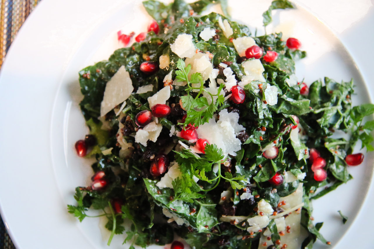Kale salad with pomegranate, Parmesan, wine-soaked currants and walnut vinaigrette at Tisza Bistro in Windsor.