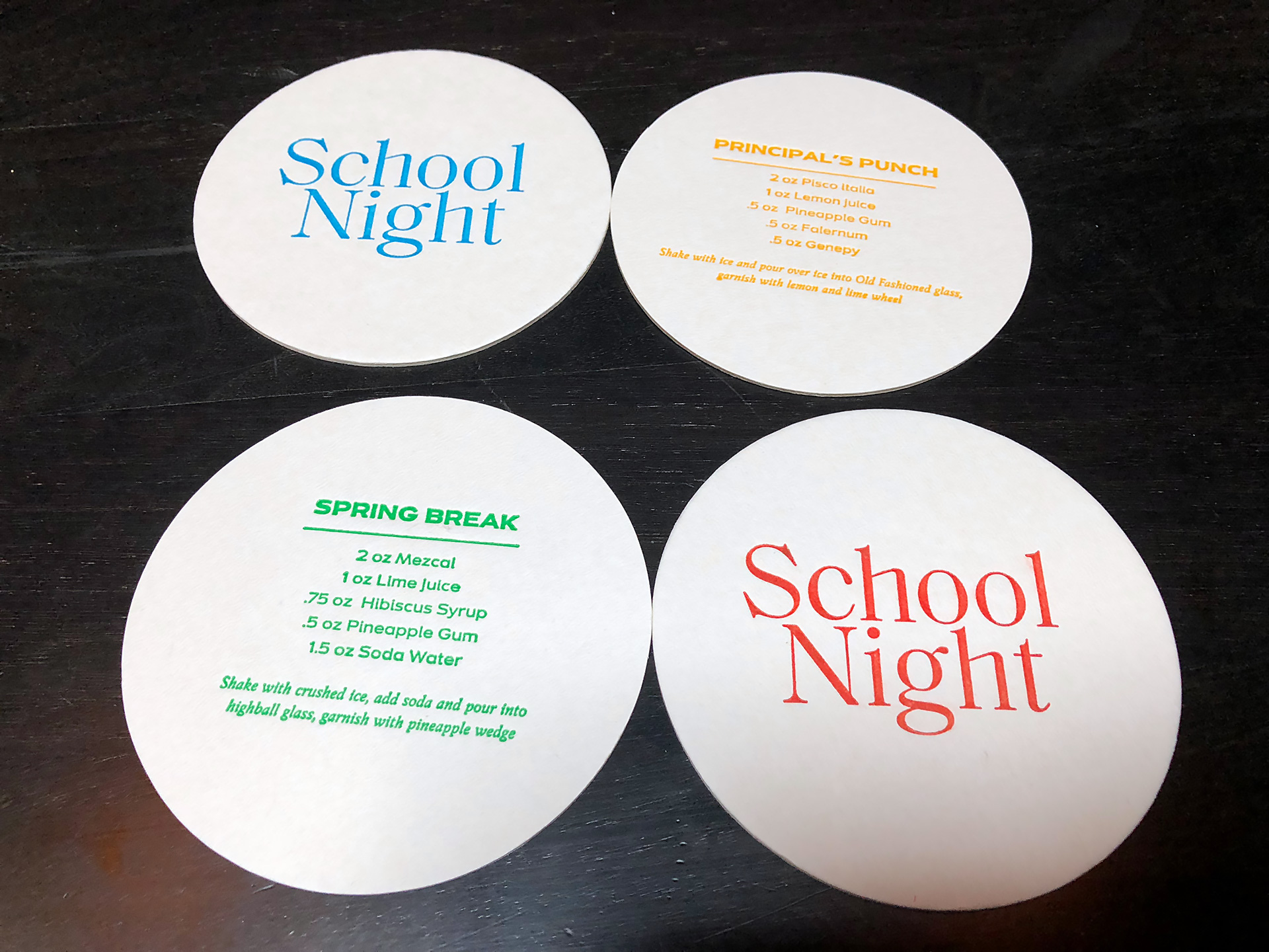Coasters with cocktail recipes