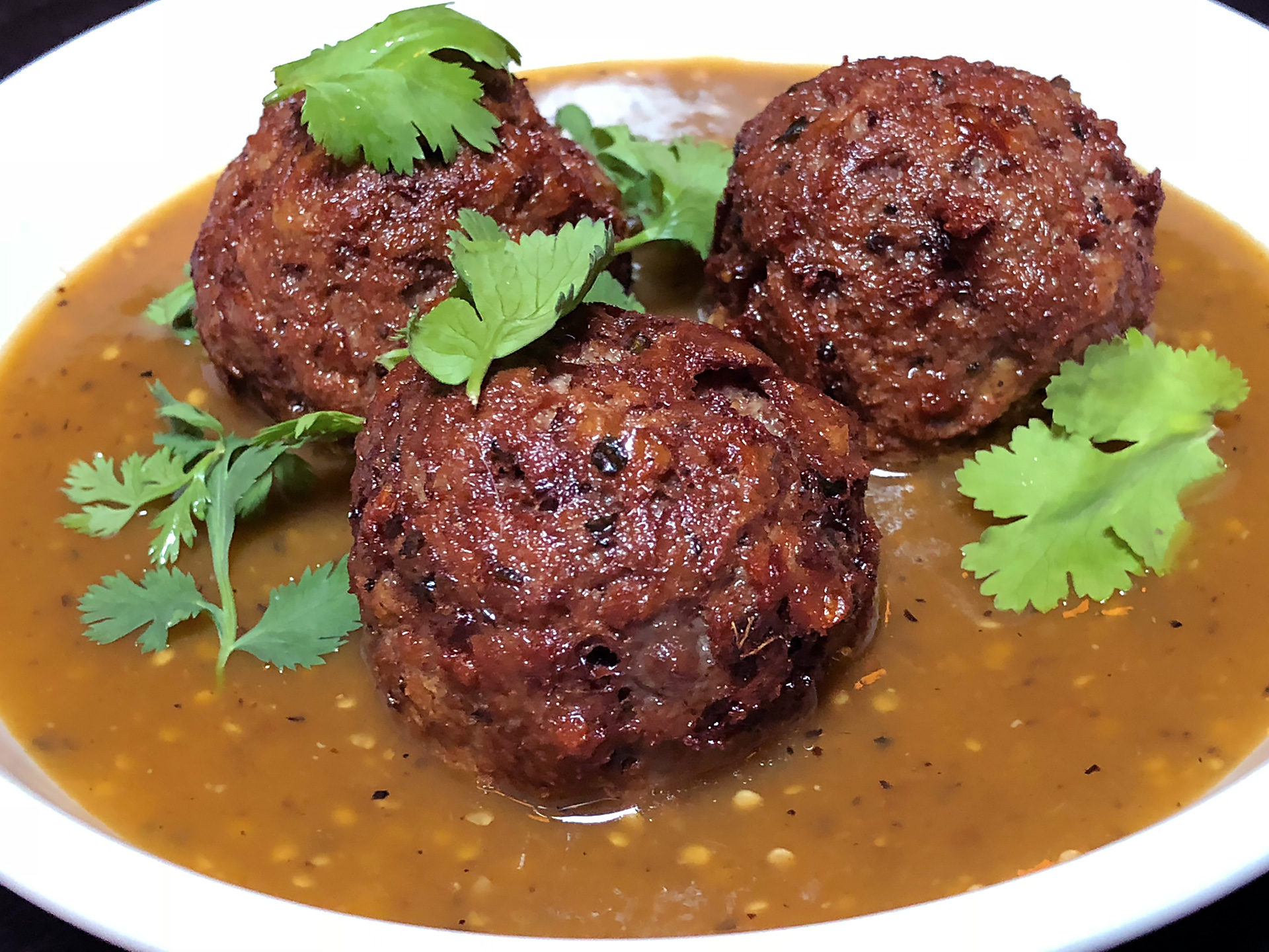 Meat-free Impossible meatball