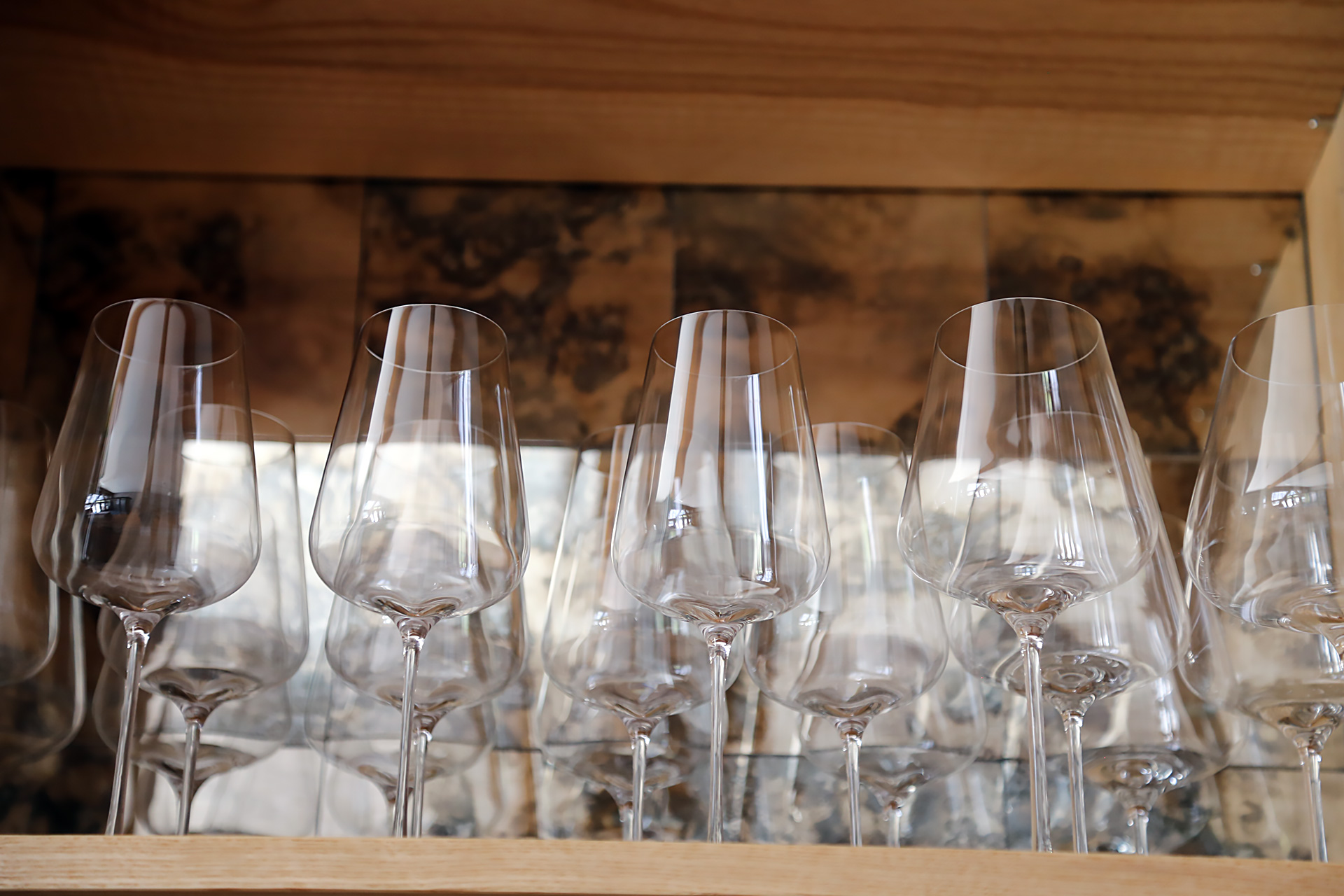 Glassware on display at Birdsong.