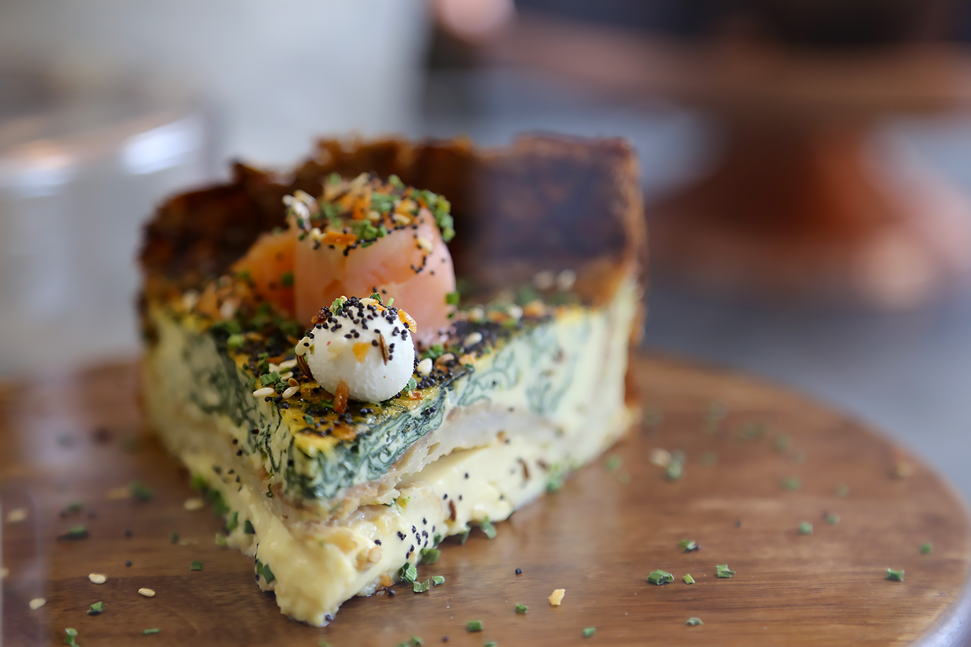 Smoked Salmon Quiche with Potato Crust, Spinach, Cream Cheese, 'Everything'