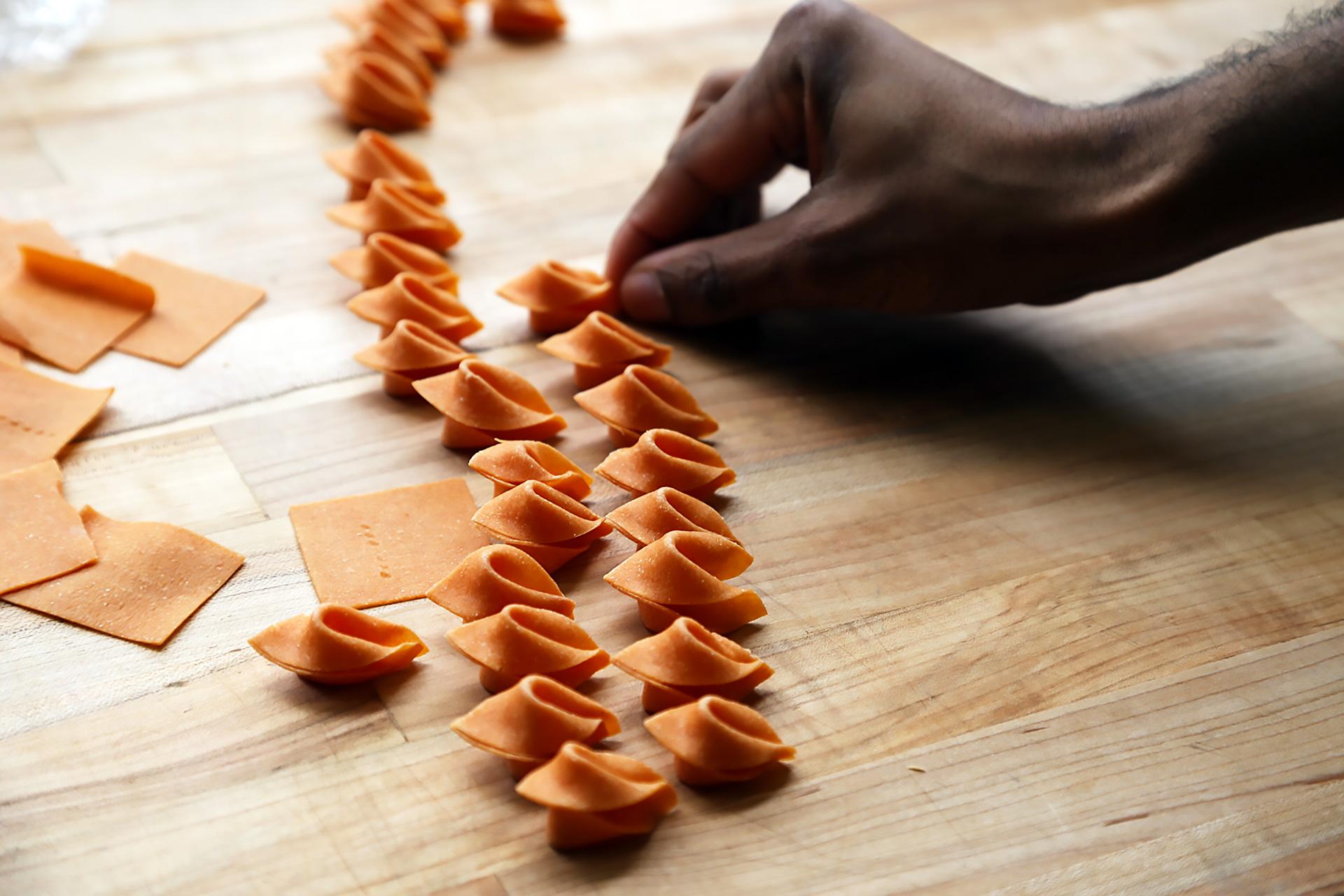 Housemade tomato chele pasta.