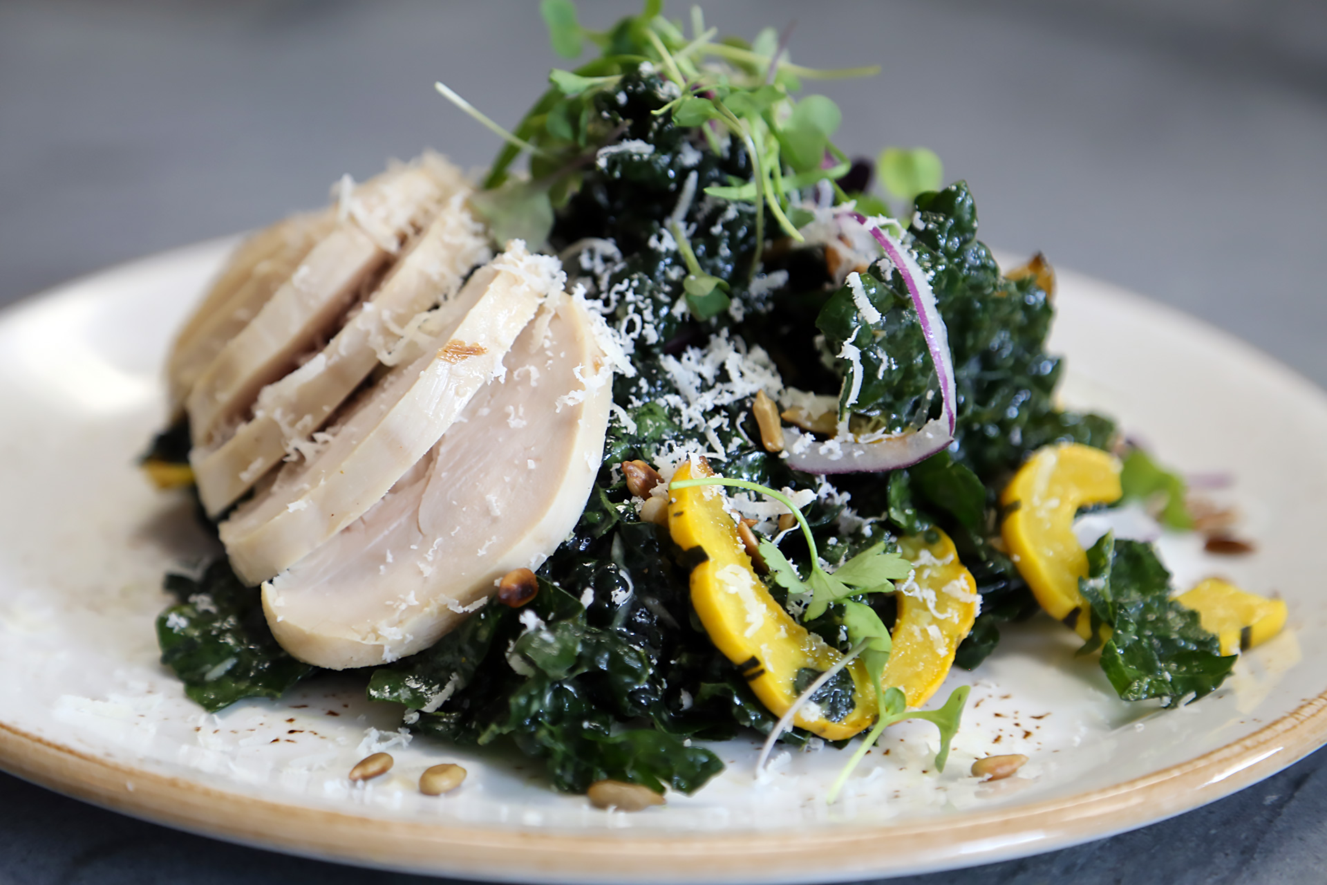Kale Salad with Parmigiano-Reggiano, Preserved Lemon Vinaigrette with Chicken