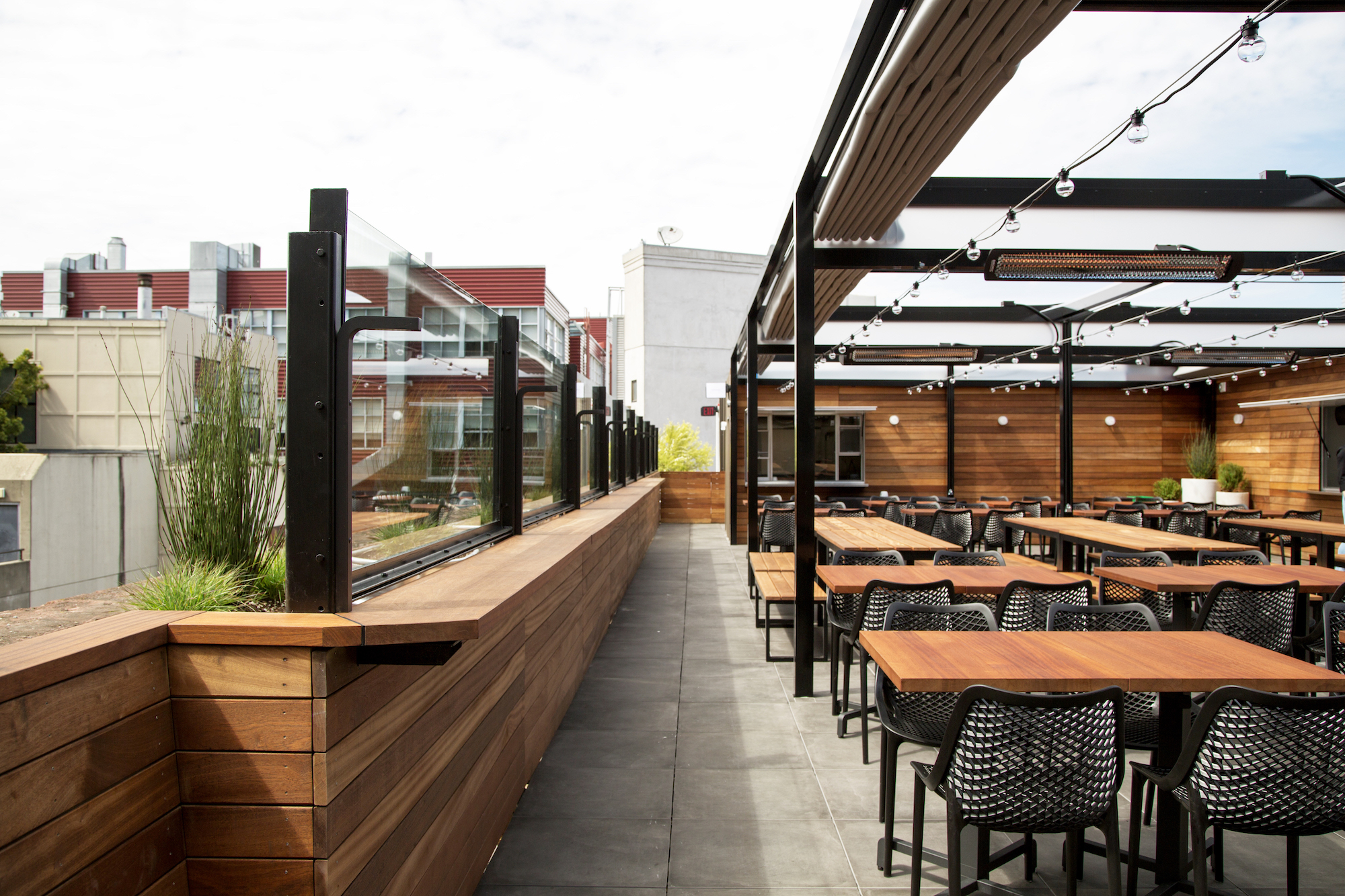 The well-appointed rooftop space at Rooftop 25.