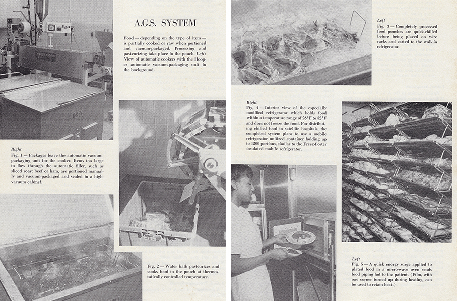 "Illustrations of how the A.G.S. system portioned and cooked food, featured in the May 1969 issue of Cornell Hospital & Restaurant Administration Quarterly magazine. Col. Ambrose McGuckian, the author's step-grandfather, wrote in the magazine about the ""water bath cooking"" technique he'd developed — which sounds an awful lot like what we now know as sous vide."