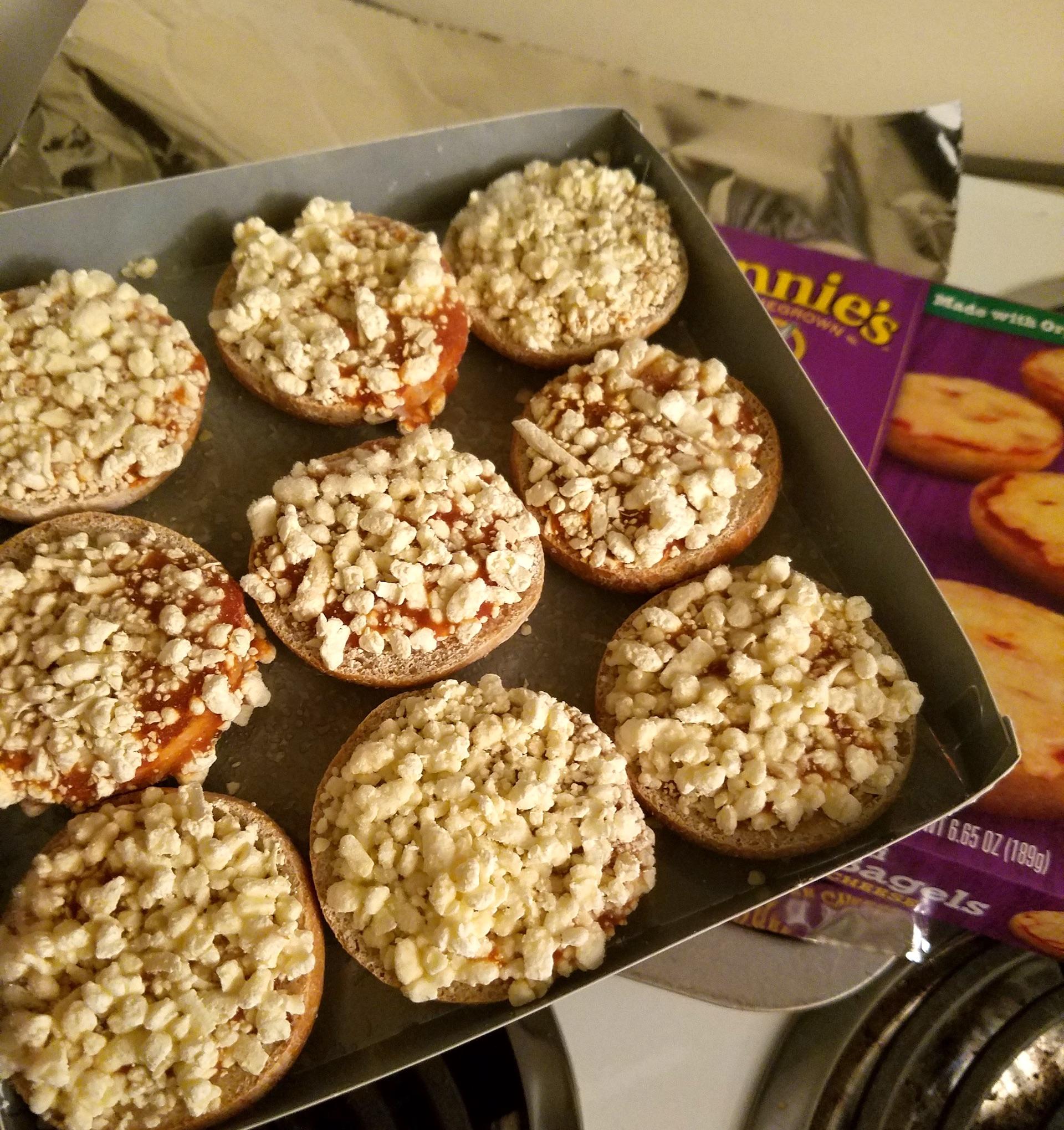Annie's pizza bagels.