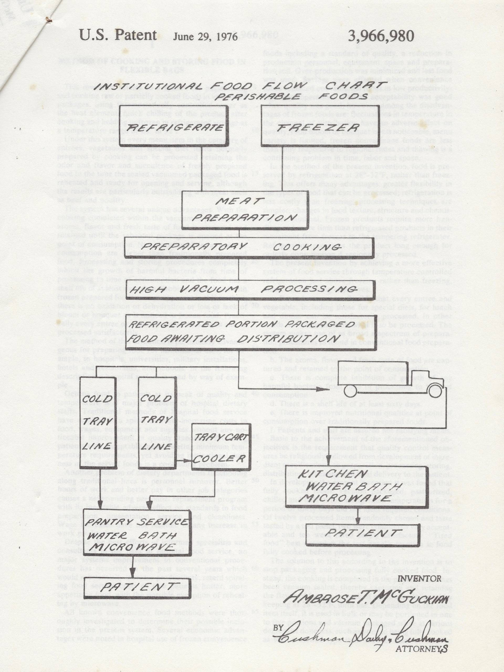 Ambrose McGuckian created a flowchart to illustrate the sequence of hospital food service from storage to preparation to patient for his patent.