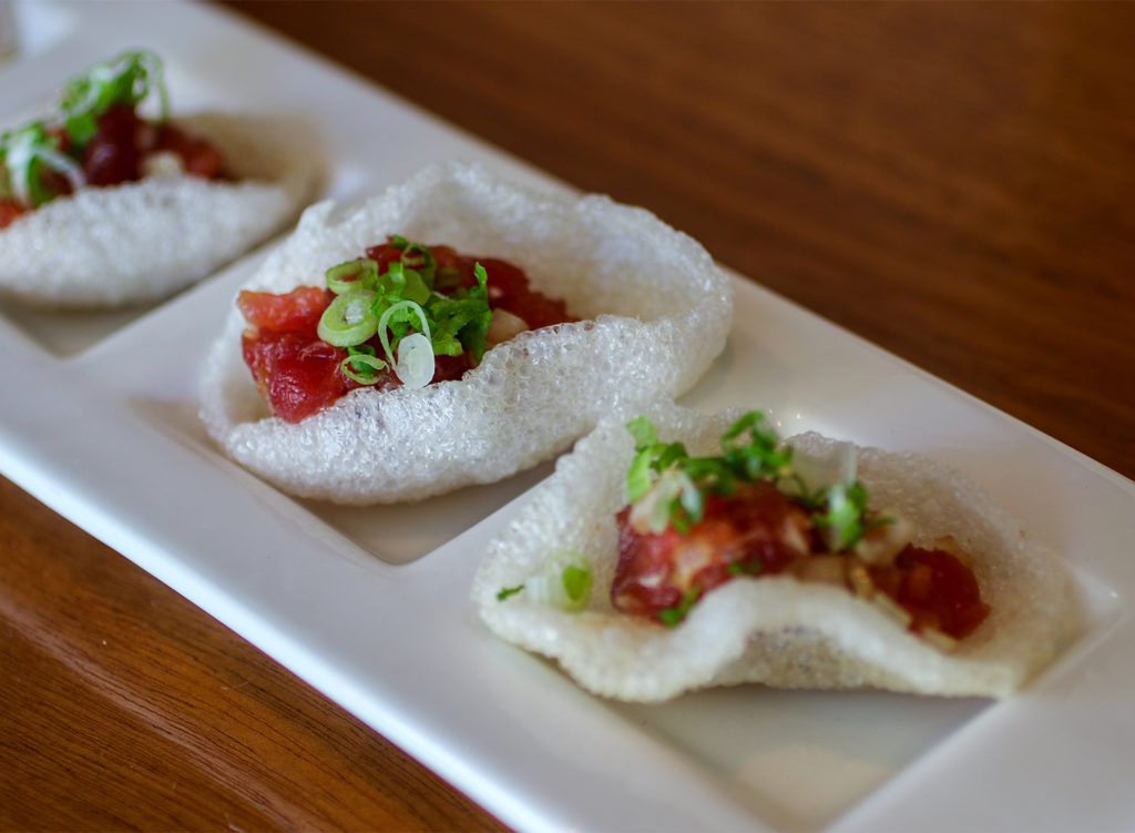 Tuna tartar on shrimp crackers at Sake 107 in Petaluma.